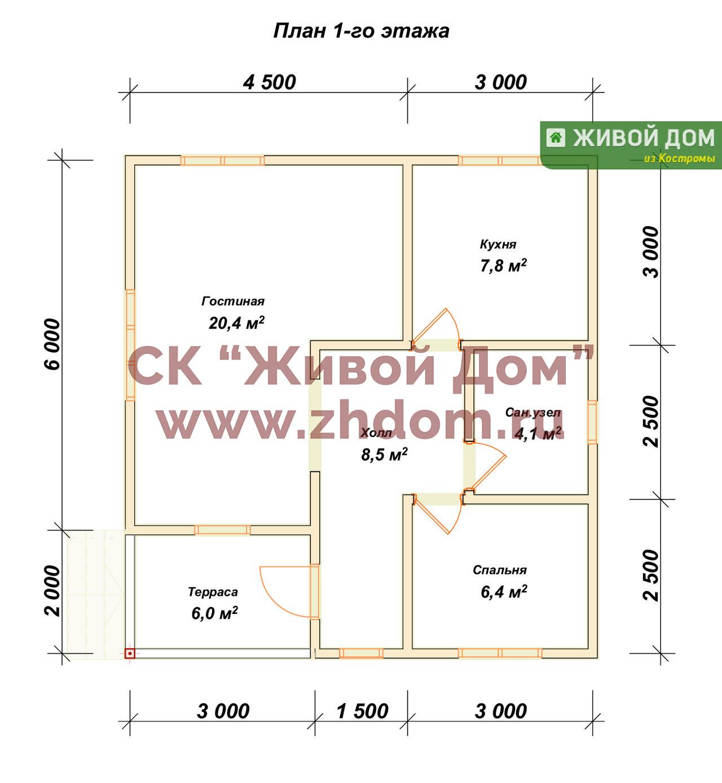 Дом 8х8 одноэтажный своими руками 12