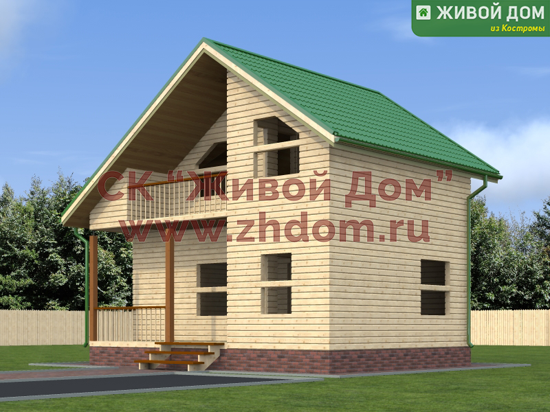 """Проект дома из бруса 6х8 с балконом и террасой москва, ск """"ж."""